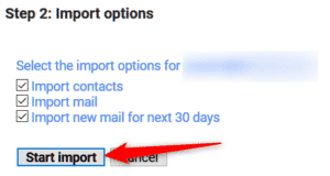 Import options Gmail