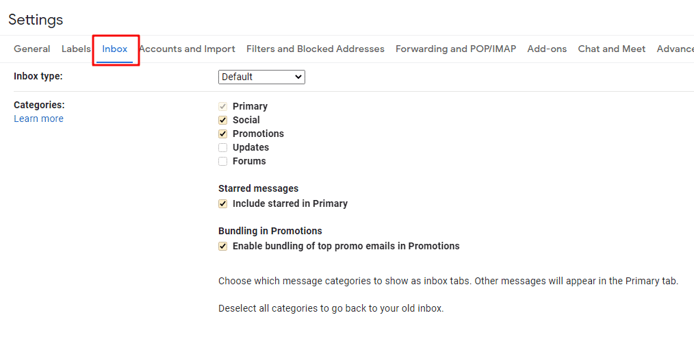 Gmail Category Inbox settings
