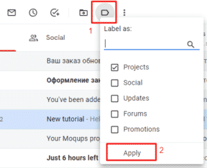 Assigning Gmail label to a message