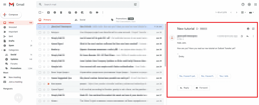 GMail interface looks like Outlook
