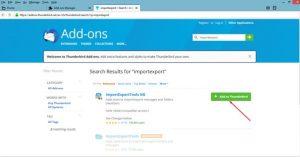 Thunderbird add-in Import Export tools
