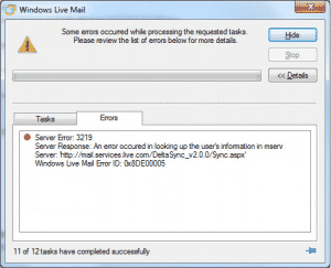 Live Mail error 0x8de00005
