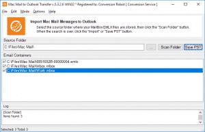 Mac Mail converter - result of scanning