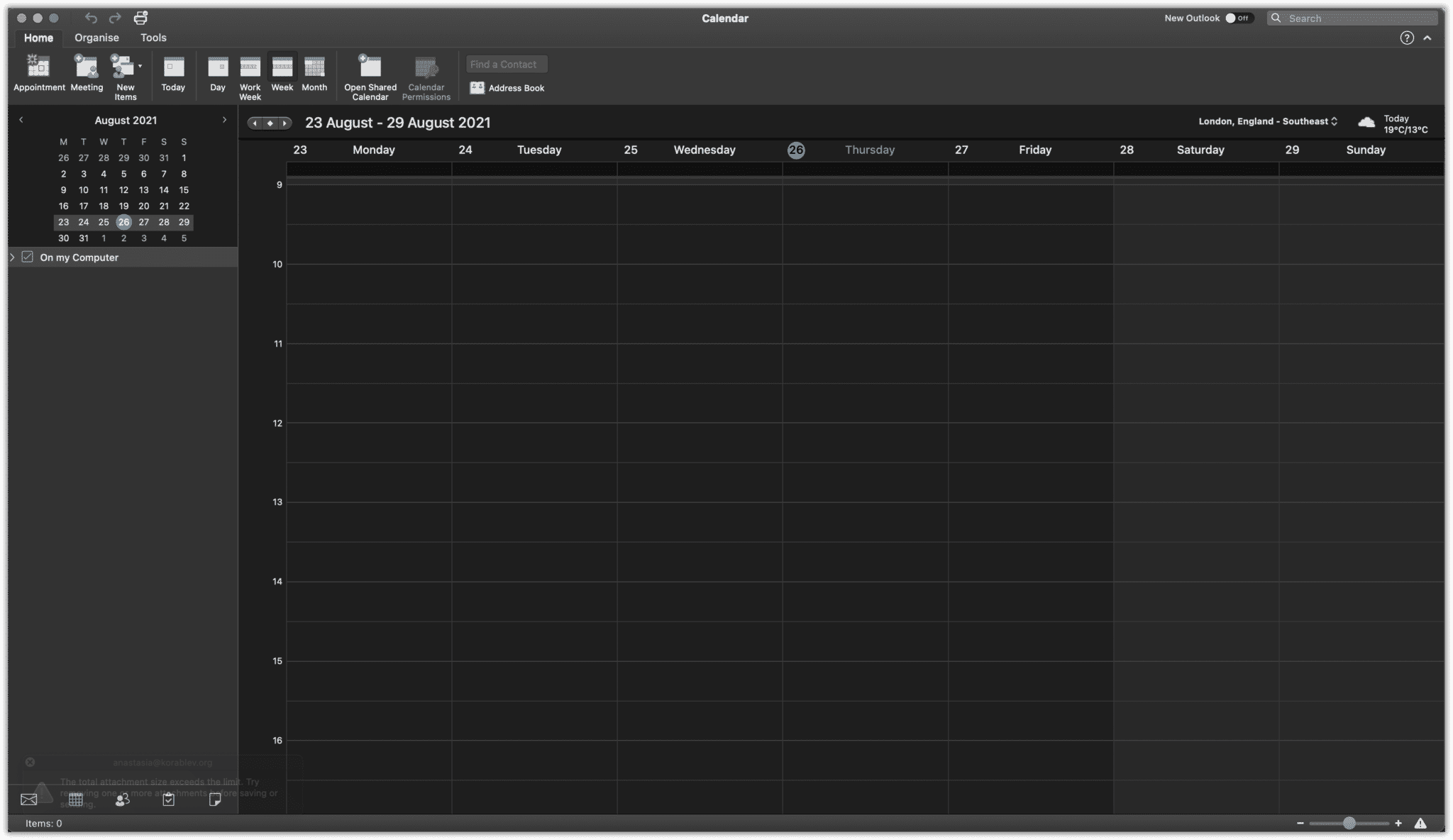 Mac OS Outlook Calendar