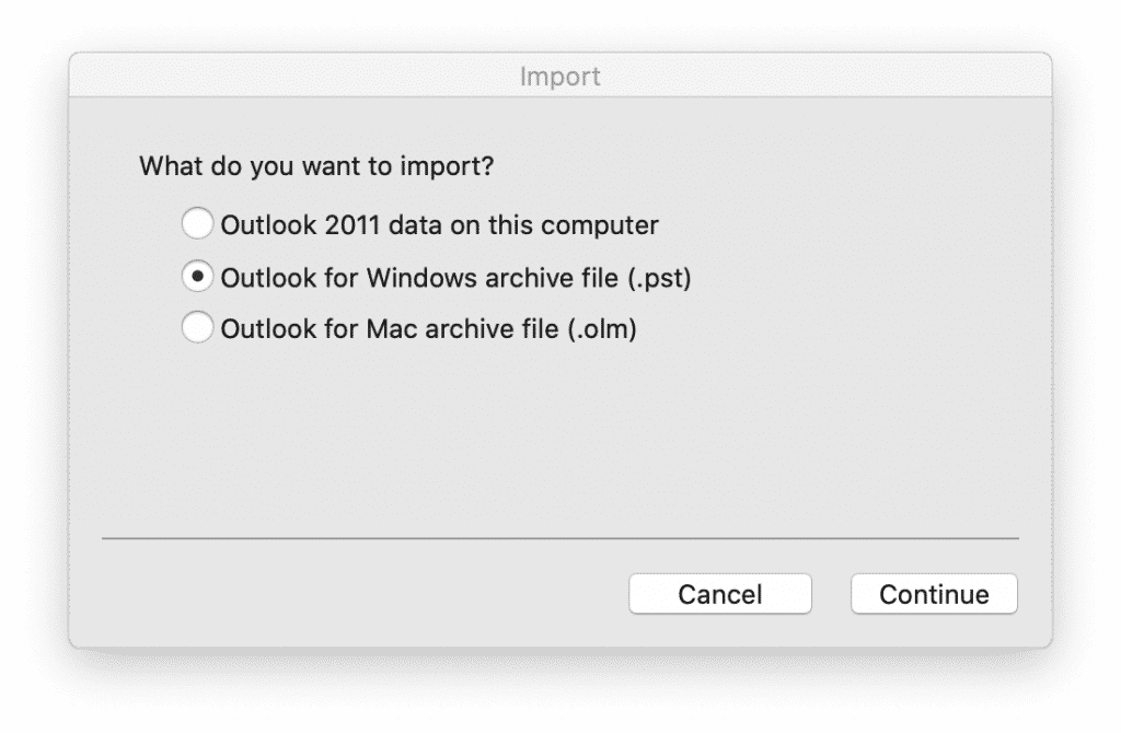 Outlook for Mac OS - PST-fil
