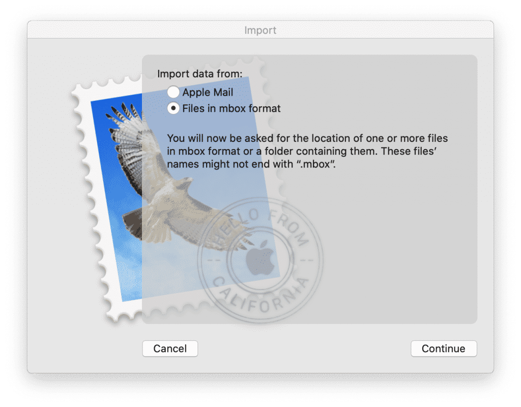 Mac Mail select mailbox format to import