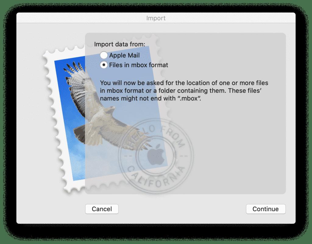 Mac Mail изберете формат на пощенската кутия за импортиране