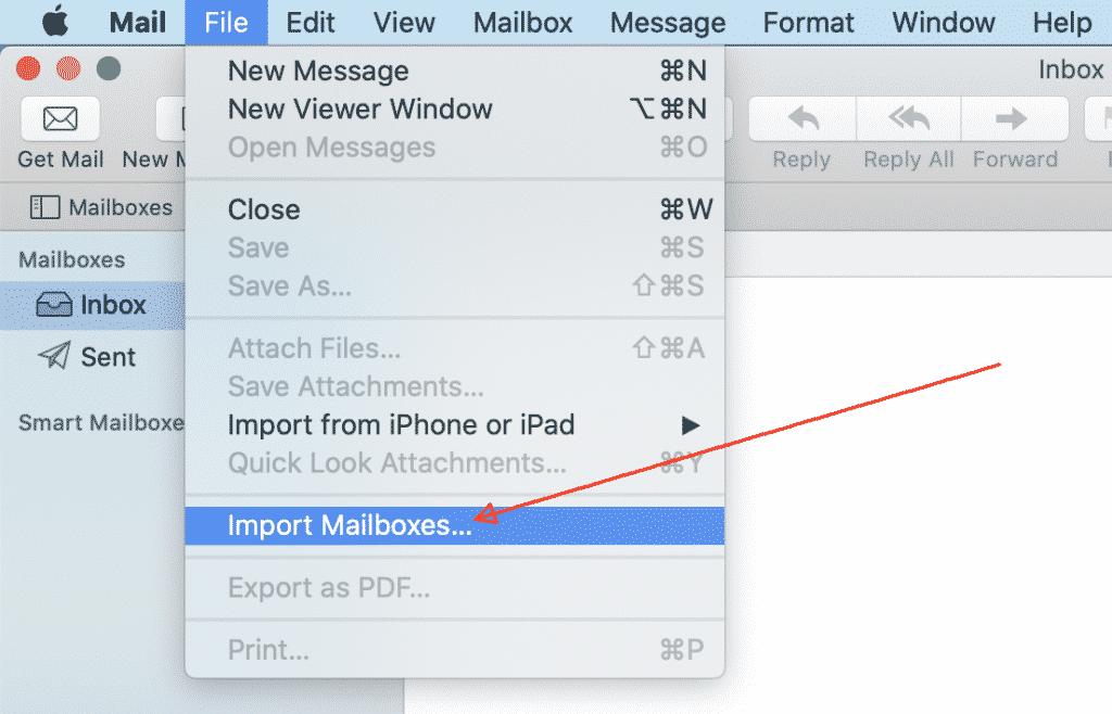 قائمة Mac Mail استيراد علب البريد