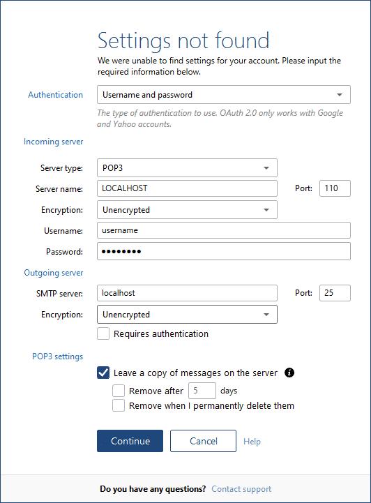 configuración de la cuenta POP3 Mailbird