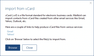 Mailbird vCard selection dialog