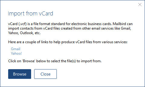 diálogo de selección de Mailbird vCard