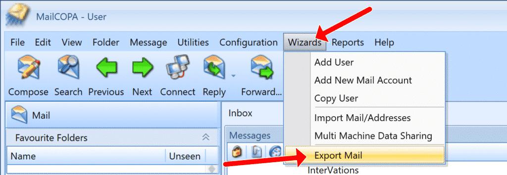MailCOPA Wizards Export Mail