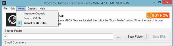 Conversione del formato da Mbox a EML