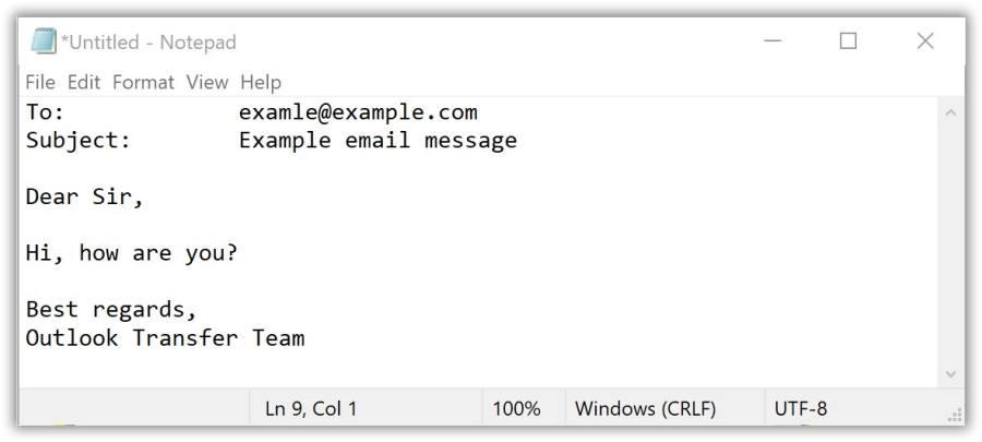 Criação de e-mail de texto no bloco de notas