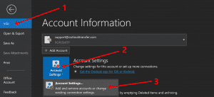 Outlook account settings menu