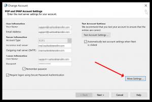 Outlook account settings More Settings