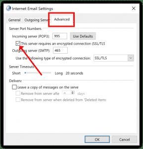 Outlook account settings SSL Encryption