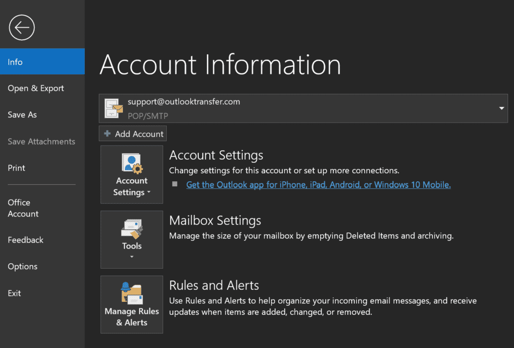 Aggiungi account Outlook