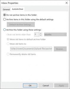 Outlook autoarchive