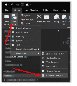Създайте нов PST файл