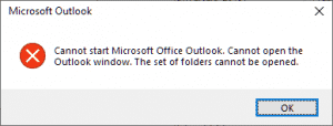 Cannot start Microsoft Office Outlook. Cannot open the Outlook window. The set of folders cannot be opened.