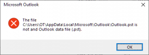 Cannot start Microsoft Outlook. Cannot open the Outlook window. The set of folders cannot be opened. Errors have been detected in the file C:\Users\OT\AppData\Local\Microsoft\Outlook\Outlook.pst.