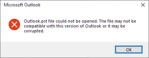 Outlook.pst file could not be opened. The file may not be compatible with this version of Outlook or it may be corrupted.