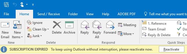 Outlook licença expirada