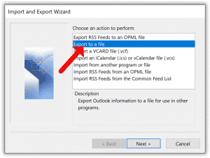Outlook export to a file
