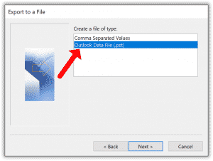 Export to Outlook data file