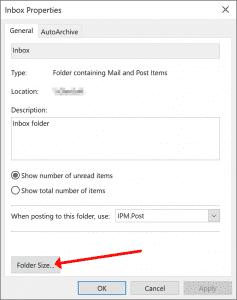 Outlook folder size option