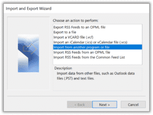 Outlook Import from another program or file