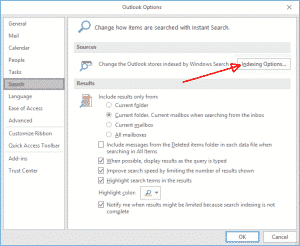 Outlook indexing options