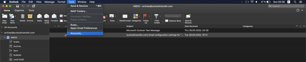 Outlook for Mac OS - Oppsett av kontoer