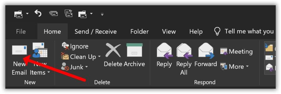 Novo e-mail do Outlook