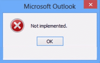 Outlook ikke implementert feil