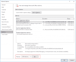 Outlook Options addns