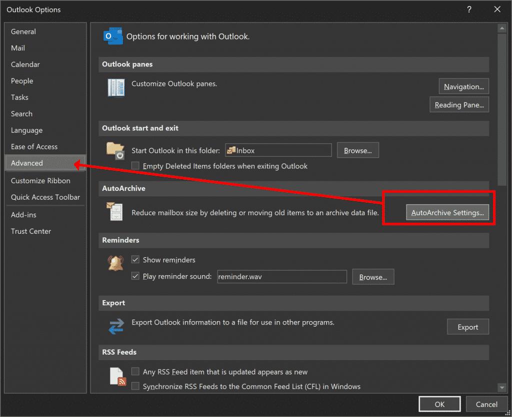 Archivage automatique des paramètres avancés d'Outlook