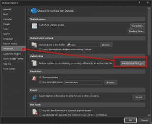 Outlook Advanced settings AutoArchive