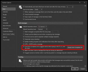 Outlook option autocomplete ON/OFF