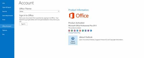 informazioni sulla versione di Outlook