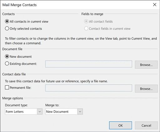 Ventana de combinación de correspondencia de Outlook