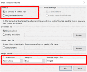 Outlook Mail Merge window with selected options