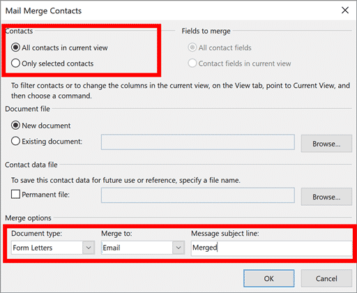 Ventana de combinación de correspondencia de Outlook con las opciones seleccionadas