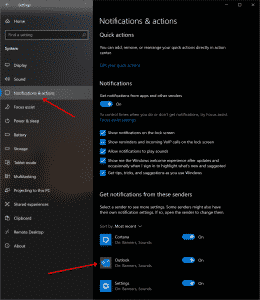 Windows Settings - Notifications and Alerts