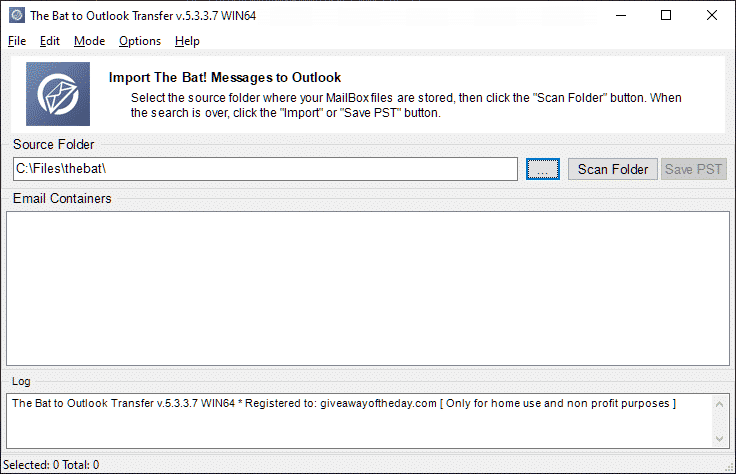 thebat-to-outlook-de transferência full-1