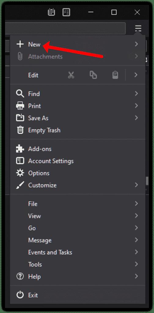 Cliquez sur Nouveau élément de menu pour commencer à ajouter un compte