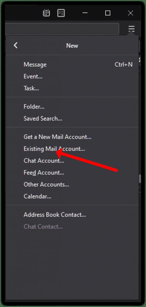 Cliquez sur Compte de messagerie existant