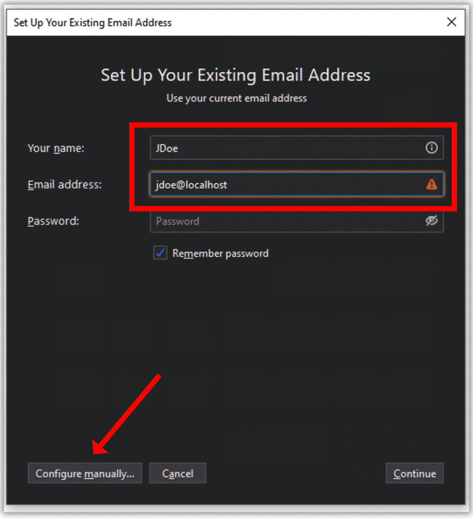 Configurer le compte de messagerie manuellement