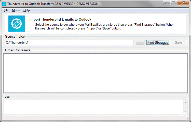 "Press ""Find Storages"" button to start the scan of Thunderbird folders"